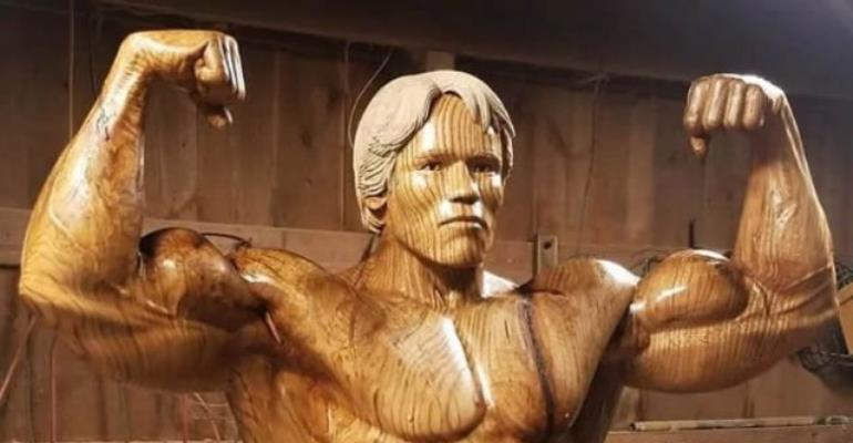 Artist Carves Incredible Life-Size Sculpture Of Arnold Schwarzenegger Out Of Tree Trunk