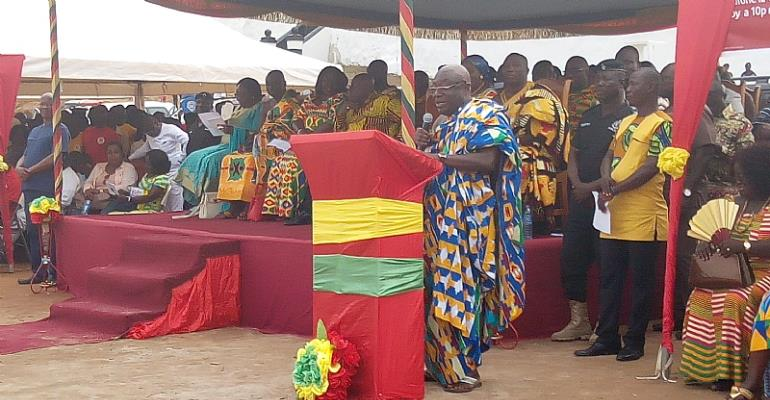 Western Regional Minister addressing gathering at Axim Kundum festival on Sunday, September 9, 2018