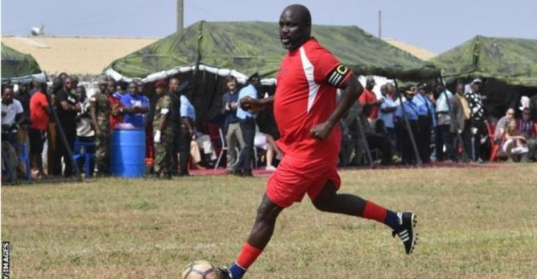 Liberia President George Weah Plays Friendly Against Nigeria