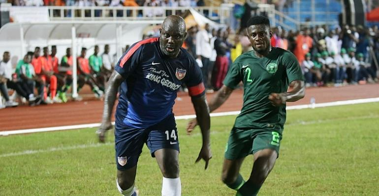 President George Weah Plays In A Friendly For Liberia Against Nigeria… 15 Years After Retiring [VIDEO]