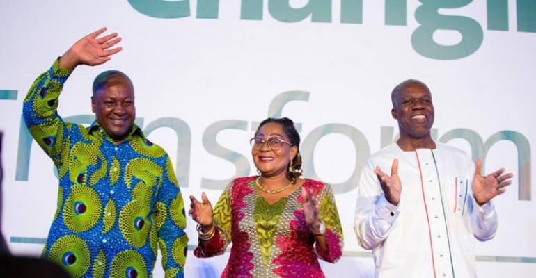 President John Mahama, Lordina Mahama and Vice President Kwesi Amissah-Arthur at NDC manifesto