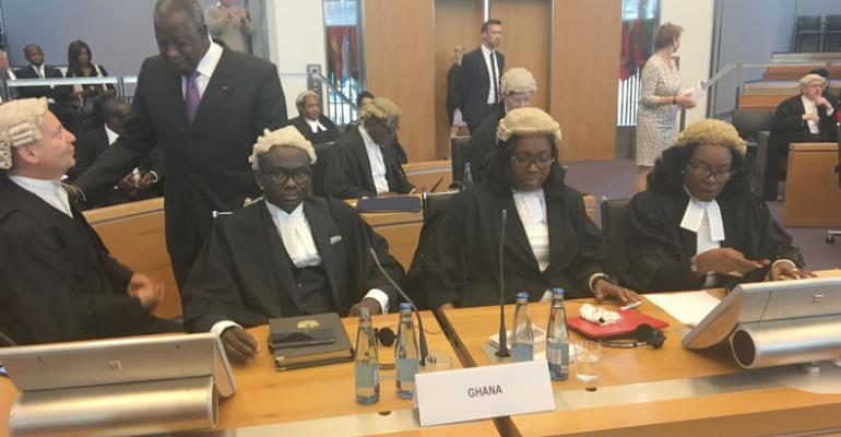 Attorney General Gloria Afua Akuffo with her deputy Godfred Yeboah Dame, Solicitor-General Helen Awo Dziwu and Professor Phillips Sands for Ghana side