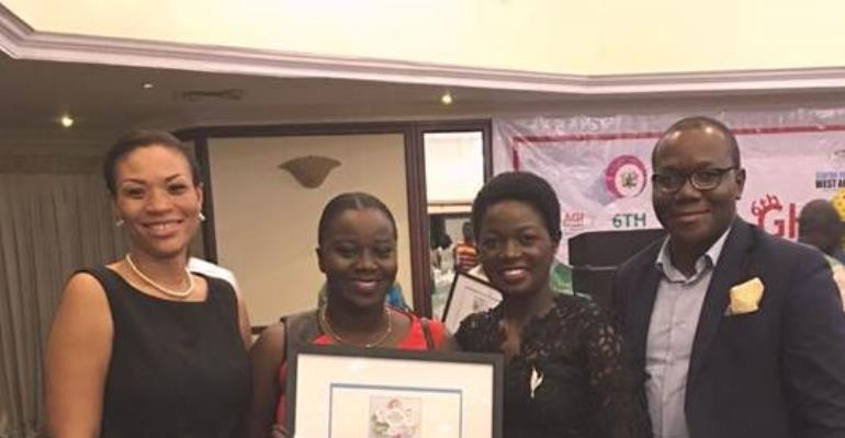 Lucy Quist (2nd from right)- was named the CSR CEO of the Year at the 2016 Ghana CSR Excellence Awards. With her at the ceremony include Hannah Agbozo (left)- Legal &Corporate Affairs Director, Richard Ahiagble (Right)- Head of Corporate Communications an