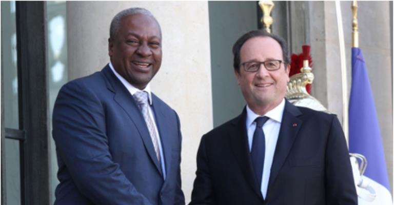 French President François Hollande Hosted President John Mahama In Paris