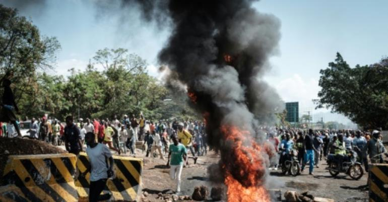 The ban on protests came a day after opposition supporters in Kisumu blocked streets and burned tyres. Several people were injured in clashes with police.  By YASUYOSHI CHIBA (AFP)