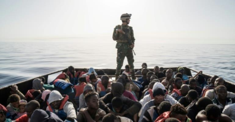 The number of migrants arriving in Italy from Libya has dropped dramatically as coastguards in both countries step up surveillance.  By Taha JAWASHI (AFP/File)