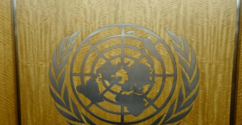 The United Nations logo in the corridors of the its headquarters in New York City.  By Ludovic MARIN (AFP)