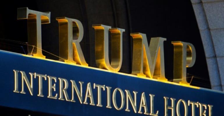'Shithole' projected on Trump's hotel in Washington