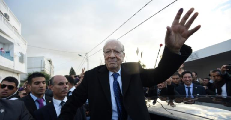 Tunisian president Beji Caid Essebsi  on the campaign trail on December 21, 2014, prior to being elected.  By FETHI BELAID (AFP)