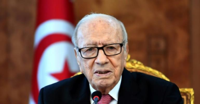Tunisian President Beji Caid Essebsi at a meeting with political parties, unions and employers on January 13, 2018 to discuss the unrest.  By FETHI BELAID (AFP)