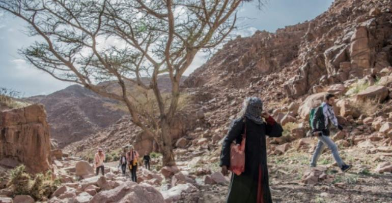 Umm Yasser guides a group of hikers through the rugged terrain of South Sinai, where tourism has been hard hit by Egypt's political turmoil.  By Khaled DESOUKI (AFP)