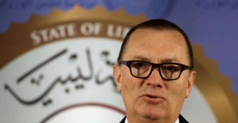 UN Undersecretary-General for Political Affairs Jeffrey Feltman speaks during a press conference in the Libyan capital Tripoli on January 10, 2018.  By MAHMUD TURKIA (AFP)