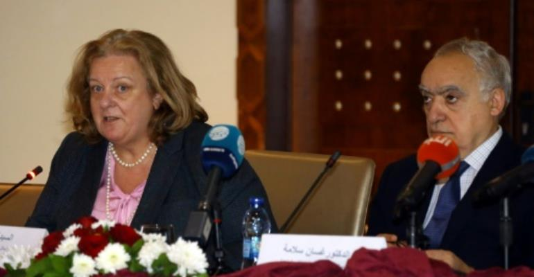 UN humanitarian coordinator for Libya, Maria Ribeiro (L), and UN envoy for Libya, Ghassan Salame, outline the priorities for a Humanitarian Response Plan for 2018 in the capital Tripoli.  By Mahmud TURKIA (AFP)