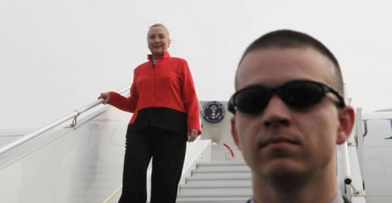 US Secretary of State Hillary Clinton arriving in Togo.  By Larry Downing (AFP/Pool)