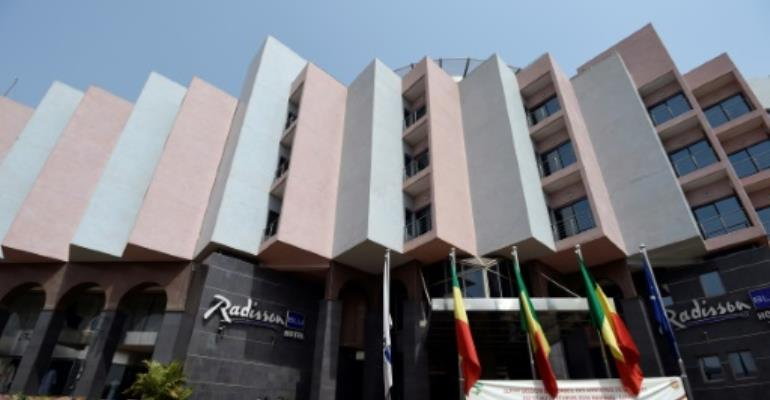 A picture taken on February 18, 2016 shows a general view of the Radisson Blu hotel in Bamako renovated three months after a deadly attack that left 19 people dead.  By MIGUEL MEDINA (AFP/File)