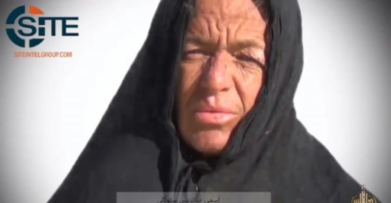 A video image obtained by SITE Inteligence Group shows Swiss hostage Beatrice Stockly held by the Sahara division of al-Qaeda in the Islamic Maghreb (AQIM) on January 10,2017.  By - (SITE/AFP)