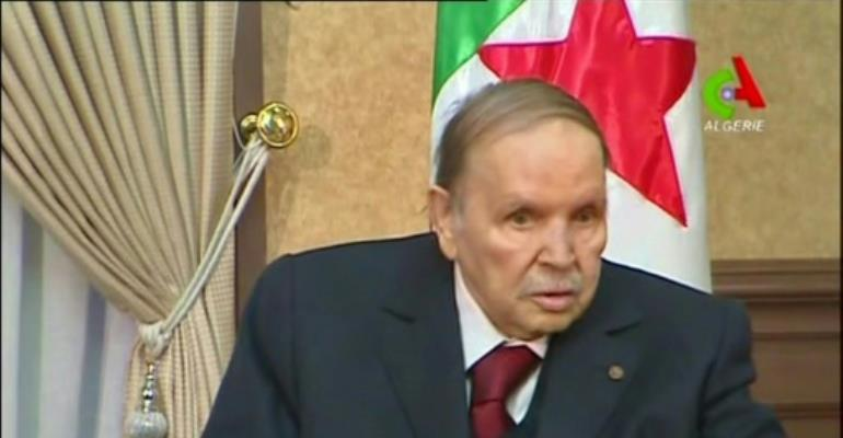 Algerian President Abdelaziz Bouteflika has rarely appeared in public since suffering a stroke in 2013.  By - (CANAL ALGERIE/AFP/File)