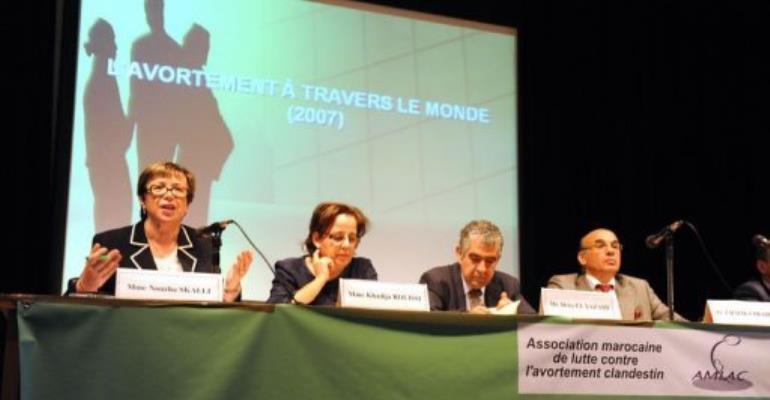 Moroccan deputy Nezha Skalli (L) speaks.  By Abdelhak Senna (AFP)