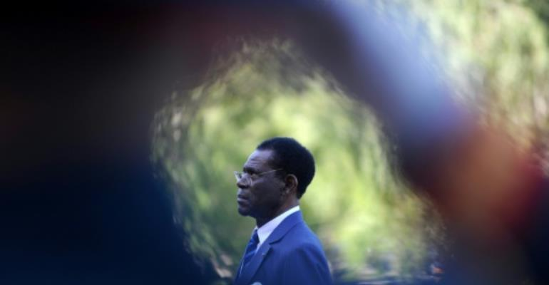 Equatorial Guinea President Teodoro Obiang Nguema, Africa's longest serving leader, has rejected opposition claims that one of its activists died in custody as a result of torture.  By NATALIA KOLESNIKOVA (AFP/File)