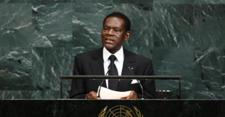 Equatorial Guinea's President Teodoro Obiang, shown in this September 21, 2017 file photo, is Africa's longest-serving president and has faced a string of coup attempts during his decades in power.  By Jewel SAMAD (AFP/File)