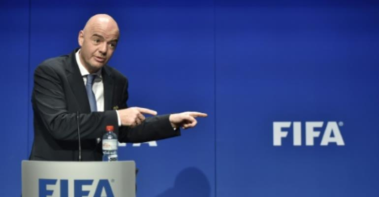 FIFA President Gianni Infantino speaks during a press briefing closing a meeting of the FIFA executive council at FIFA headquarters in Zurich on January 10, 2017.  By Michael BUHOLZER (AFP)
