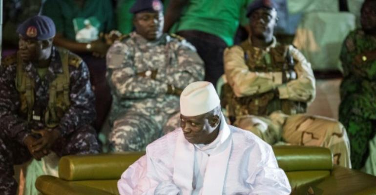 Gambian President Yahya Jammeh, in power for 22 years, has vowed to stay in office until a dispute over December's election result is resolved.  By Marco LONGARI (AFP/File)