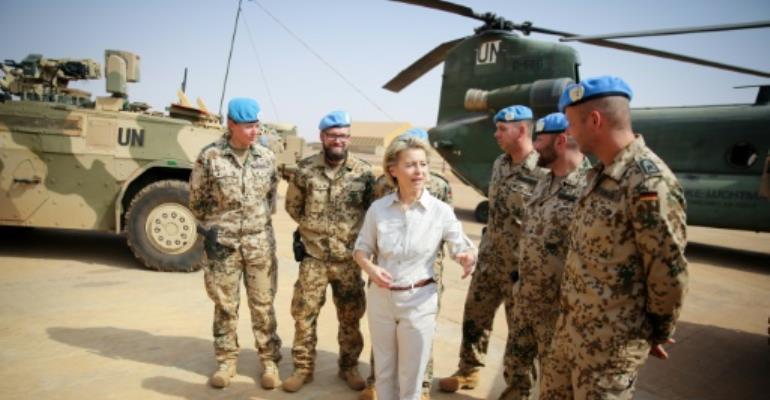 German Defence Minister Ursula von der Leyen visited the German army camp Castor in Gao, northern Mali on December 19, 2016.  By Kay Nietfeld (POOL/AFP/File)