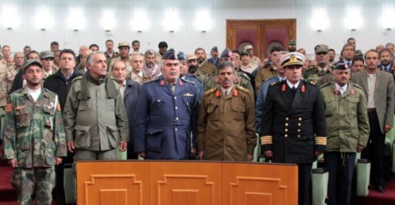 Commanders who defected from Moamer Kadhafi's armed forces.  By Abdullah Doma (AFP/File)