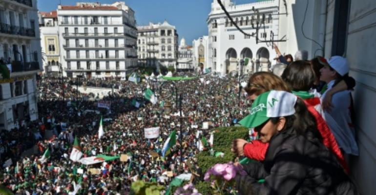 Hundreds of thousands of Algerians had taken to the streets in recent weeks demanding longtime leader Abdelaziz Bouteflika resign.  By RYAD KRAMDI (AFP/File)