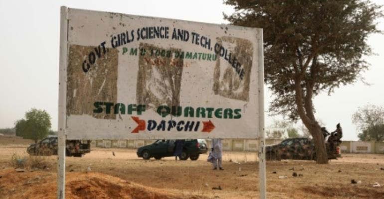 Hundreds of students at the Government Girls Science and Technical College in Dapchi, Nigeria, fled after the armed raid.  By AMINU ABUBAKAR (AFP/File)