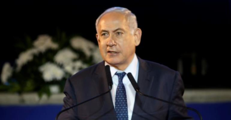 Israeli Prime Minister Benjamin Netanyahu delivers a speech at a ceremony marking the 50th anniversary of the Six-Day War on June 5 2017.  By MENAHEM KAHANA (AFP)