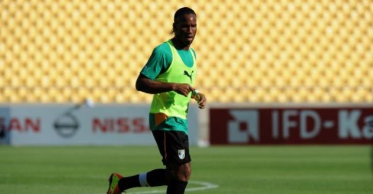 Ivory Coast Forward Didier Drogba runs during a training session in Rustenburg on January 21, 2013.  By Alexander Joe (AFP/File)