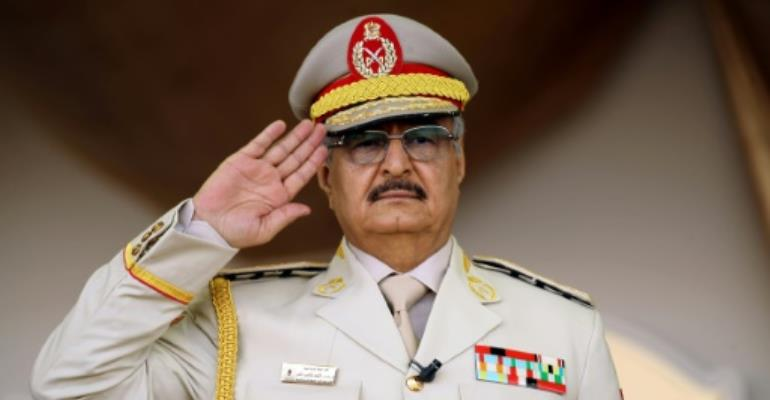 Khalifa Hafter presents himself as Libya's saviour in the face of a growing jihadist threat, but his opponents accuse of him of seeking to establish a new military dictatorship.  By Abdullah DOMA (AFP/File)