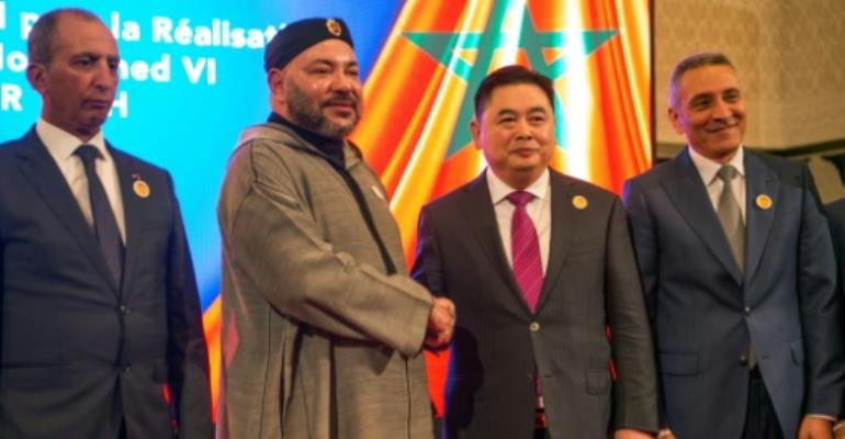 Morocco's King Mohamed VI and Li Biao, Chairman of the Chinese Haite group, at the launch of the Tech City project on March 20, 2017.  By FADEL SENNA (AFP)