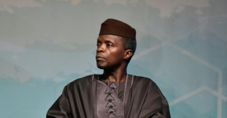Nigeria Vice-President Yemi Osinbajo led a choir in a rendition of the 18th century hymn