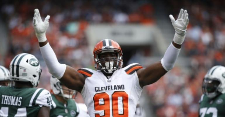 Nigerian-born NFL defensive end Emmanuel Ogbah was traded Monday from the Cleveland Browns to the Kansas City Chiefs.  By Joe Robbins (GETTY IMAGES NORTH AMERICA/AFP/File)