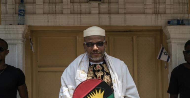 Nnamdi Kanu, who leads the Indigenous People of Biafra movement, is a fierce critic of Nigerian President Muhammadu Buhari.  By STEFAN HEUNIS (AFP/File)