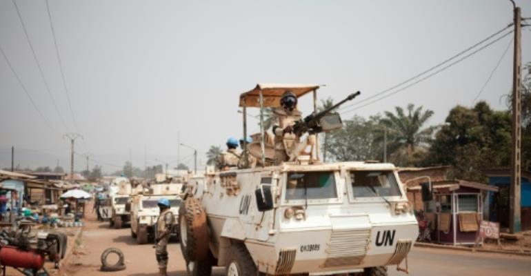 People in Bangui's flashpoint PK5 district have accused UN peacekeepers of failing to to tackle local armed groups.  By FLORENT VERGNES (AFP/File)