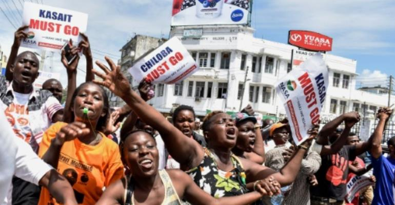 Protesters in Mombasa, Kenya, are demanding the overhaul of the electoral commission.  By ANDREW KASUKU (AFP)