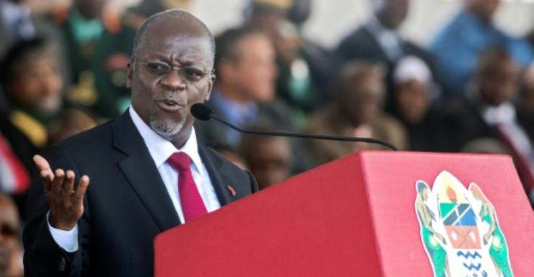 President Magufuli took office three years ago promising to tackle corruption but has earned criticism for his authoritarian leadership style which detractors say has curbed opposition and freedom of expression.  By Daniel Hayduk (AFP/File)