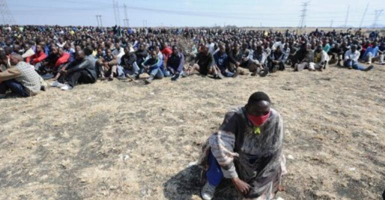 Anger is high among striking miners after Thursday's bloodshed.  By Str (AFP)