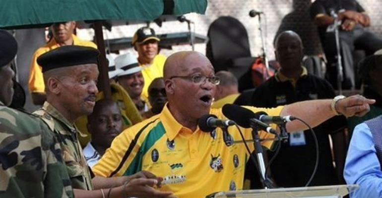 South Africa's president Jacob Zuma sings during celebrations in Bloemfontein.  By Alexander Joe (AFP)