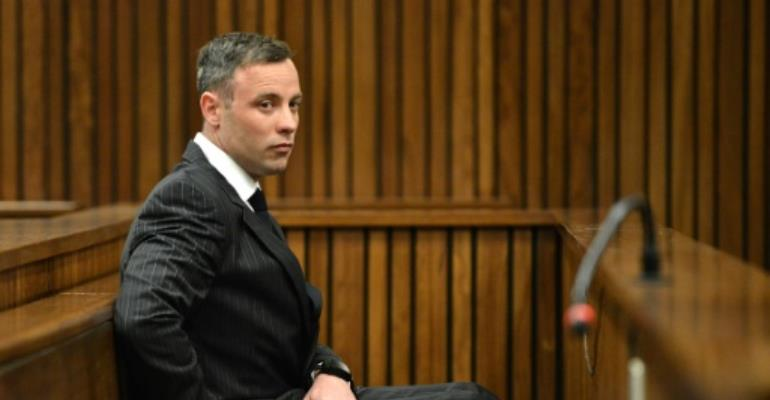South African Paralympian Oscar Pistorius was originally convicted of culpable homicide -- the equivalent of manslaughter -- but his conviction was upgraded to murder on appeal.  By Phill Magakoe (POOL/AFP/File)