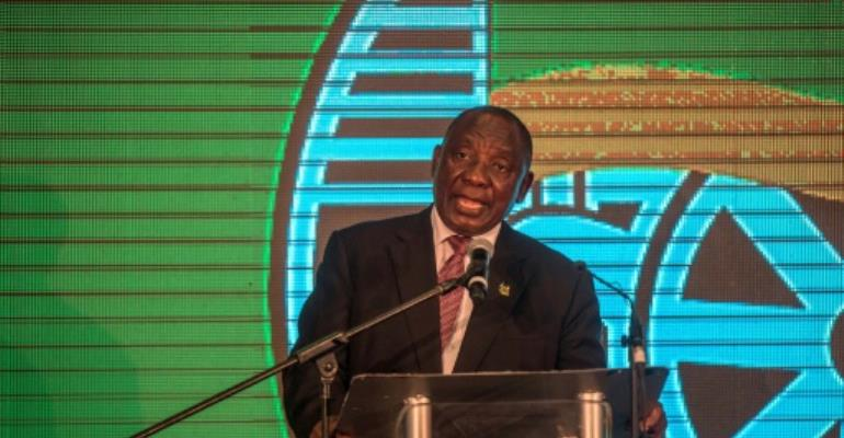 South African ruling party president Cyril Ramaphosa faces an uphill task to recover public support for Africa's oldest liberation movement ahead of elections in 2019.  By MUJAHID SAFODIEN (AFP/File)