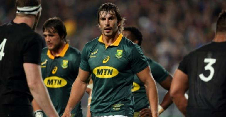 South Africa's Eben Etzebeth walks to the line out during the Rugby Championship match between New Zealand and South Africa at Albany Stadium in Auckland on September 16, 2017.  By MICHAEL BRADLEY (AFP/File)