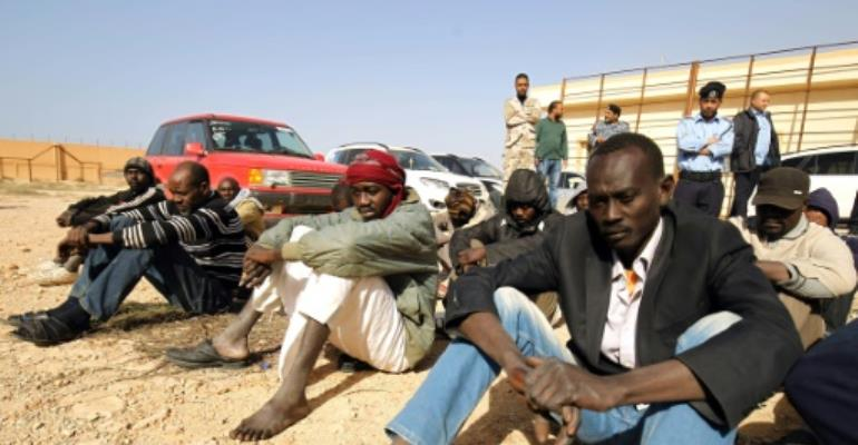 Sub-Saharan migrants in the southern outskirts of Benghazi, Libya, have been waiting to be repatriated.  By Abdullah DOMA (AFP/File)