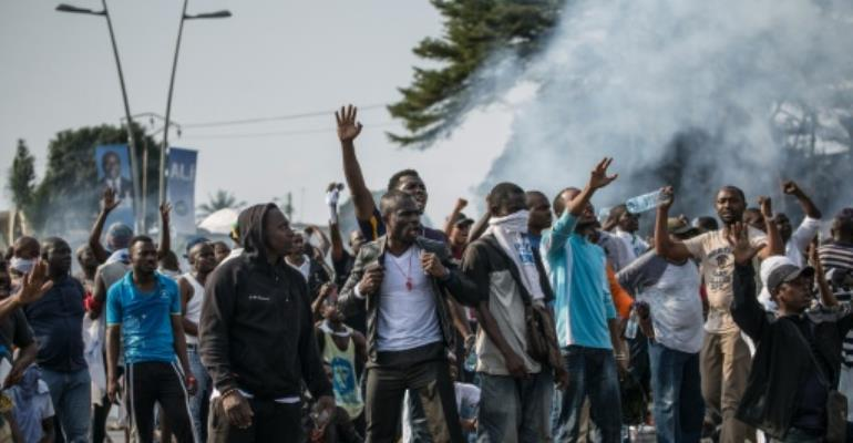 Supporters of Gabonese opposition leader Jean Ping have taken to the streets to protest the outcome of the presidential election.  By Marco Longari (AFP)