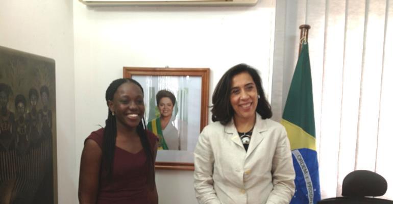 Alberta Nana Akyaa Akosa, FAGRO Exhibition Director and H. E. Irene Vida Gala, Brazil's Ambassador to Ghana