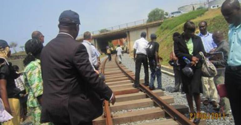 Board Members of Ghana Railway Development Authority inspect work