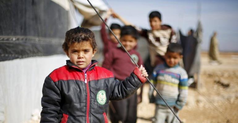 Syrian refugee children at Al Zaatari refugee camp in the Jordanian city of Mafraq (Picture: REUTERS/ Muhammad Hamed)